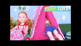 Baby Dolls Đóng gói đồ chơi và thực phẩm cho cuộc phiêu lưu cắm trại! 🎀