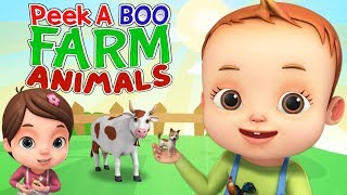 Peek A Boo Song - Learn Farm Animals | Videogyan 3D Rhymes | Kids Songs & Videos For Toddlers