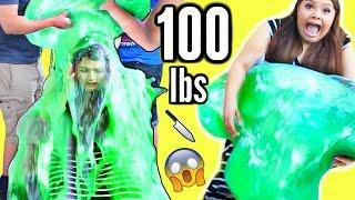CUTTING OPEN 100 LB SLIME STRESS BALL! Slime Bucket Challenge!