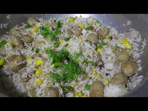 How to Make Soya Chunks Pulao / Meal Maker Pulao Recipe in Telugu