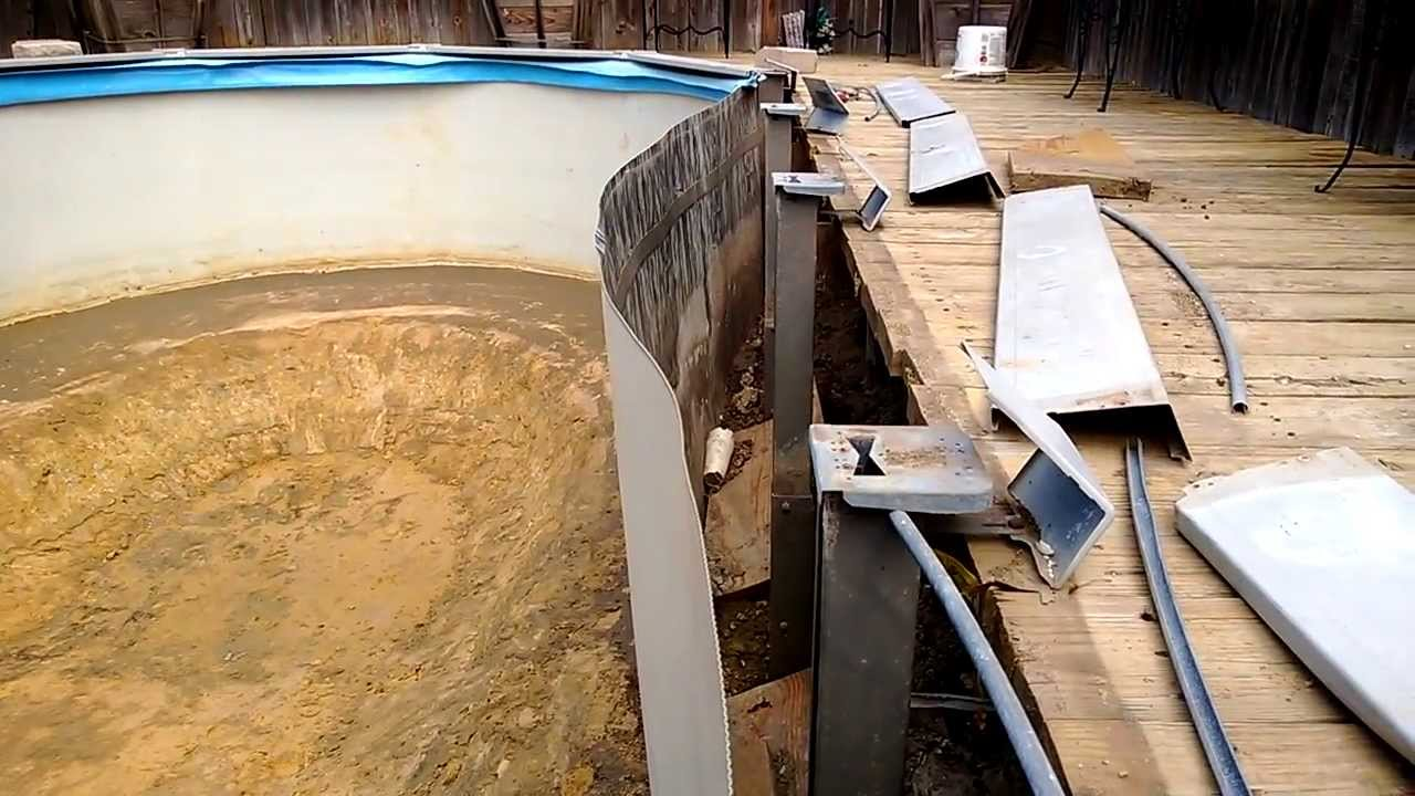 How To Repair An Above Ground Swimming Pool Cave In Video
