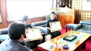 川平ファームのパッションフルーツドリンクが食のミシュランの3つ星受賞で市長に報告