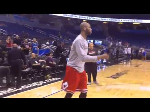 Chicago Bulls Derrick Rose and Taj Gibson Pre Game Warmup Before Orlando Magic Game