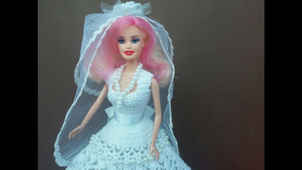 Вязание крючком для барби свадебное платье 39