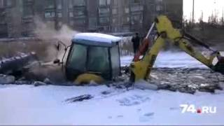Трактор ушел под лед в Челябинске