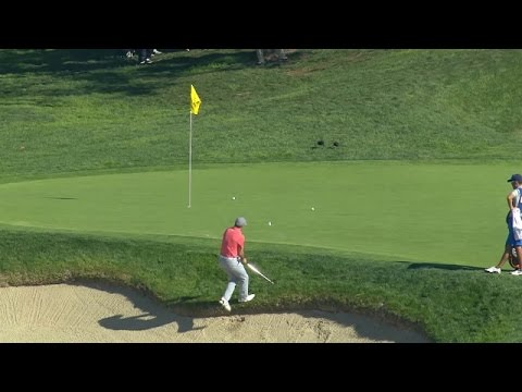 "Jordan Spieth's ""fade away jump shot"" on No. 13 at Farmers"