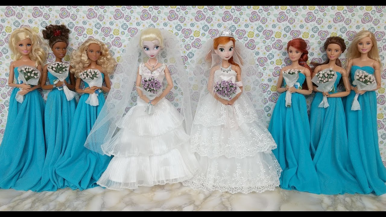 Elsa and Anna Wedding Dresses & Barbie dressエルサ人形のウェディングドレスRobes de mariée de Elsa et Anna