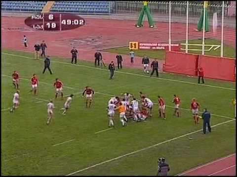 Rugby ENC 2009 Russia-Georgia (Khinchagishvili Try)