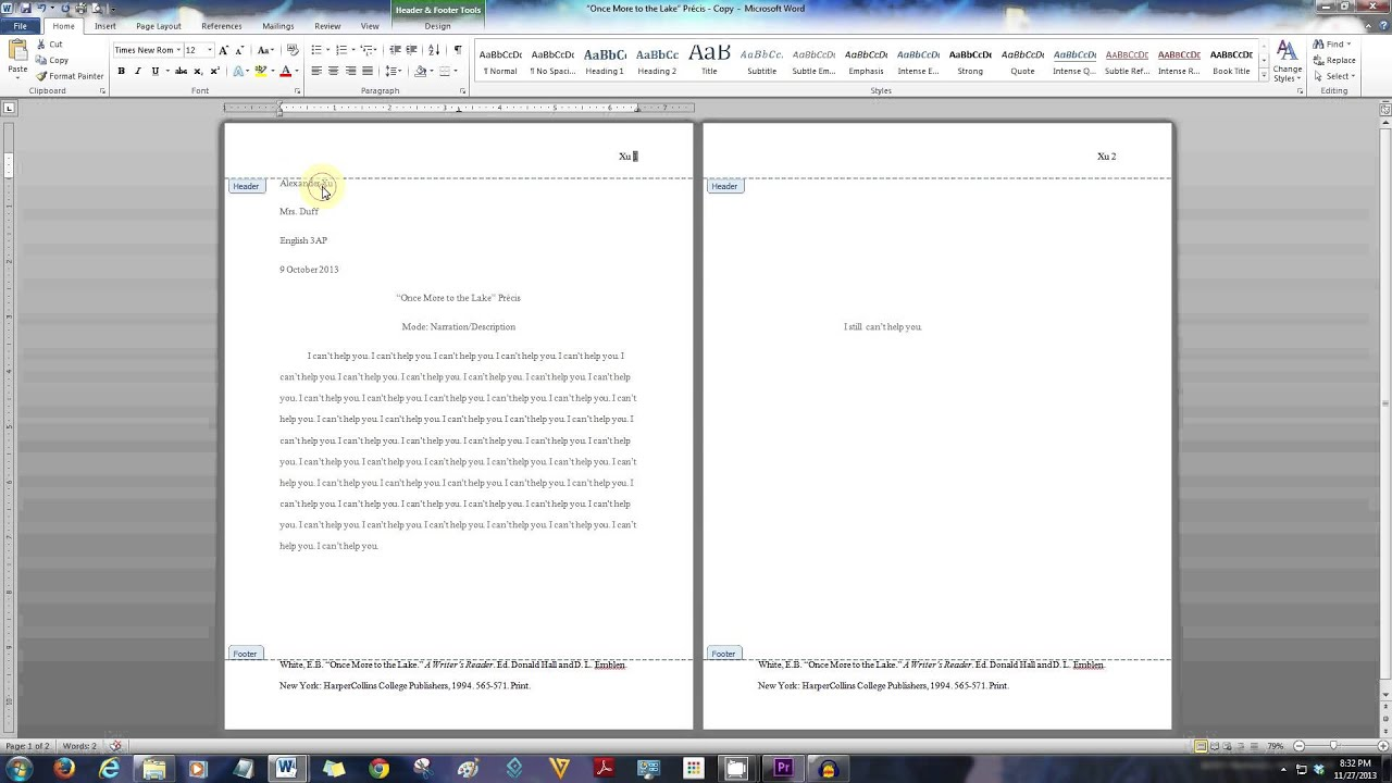 English 3ap How To Properly Format A Pr 233 Cis And Common