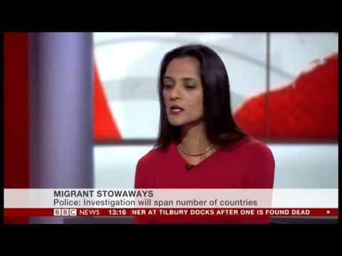 Saira Grant, JCWI, Tilbury Docks, Trafficked Immigrants BBC News Interview
