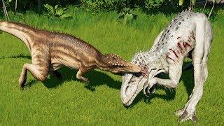 CARCHARODONTOSAURUS MAX Vs I-REX,T-REX,SPINOSAURUS,INDORAPTOR - Jurassic World Evolution