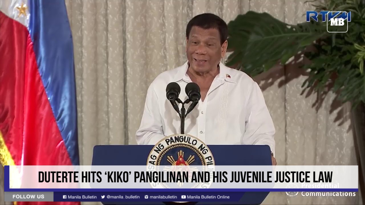 Duterte hits 'Kiko' Pangilinan and his juvenile justice law