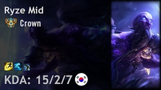 Ryze Mid vs Zed - Crown - KR Challenger Patch 7.4