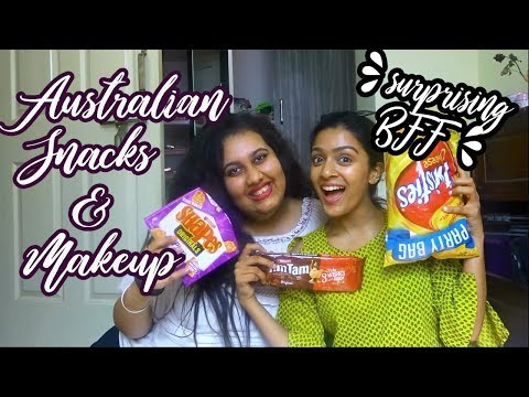 INDIANS TRY AUSTRALIAN SNACKS&MAKEUP+SURPRISING BFF ON CAMERA!!