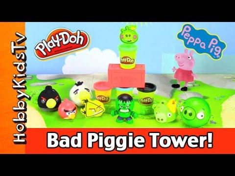 Play-doh Angry Bird Stack + Attack Tower! Hulk Smash, Peppa Pig, George [box Open] Hobbykidstv video