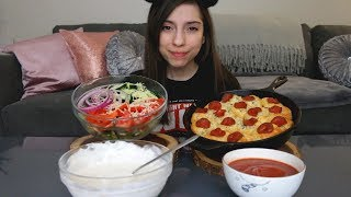 PIZZA PINWHEEL RECIPE & BUTTERMILK RANCH SALAD MUKBANG