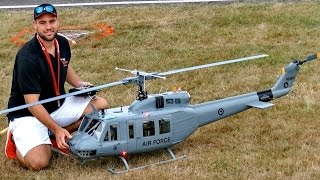 HUGE RC BELL UH-1D HUEY VARIO TURBINE SCALE MODEL HELICOPTER DEMO FLIGHT / Jetpower Fair 2016