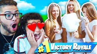 MY LITTLE BROTHER PLAYS WITH A FULL SQUAD OF GIRLS!! HE TRIED SO HARD TO IMPREES THEM! FORTNITE BR