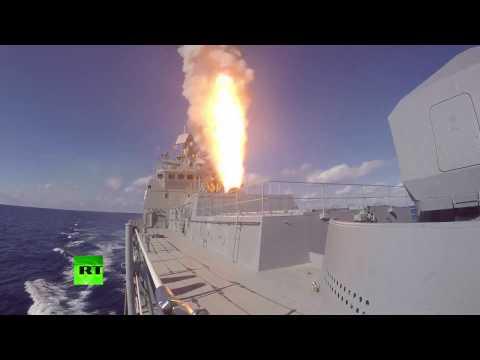Пуск ракет «Калибр» с фрегата «Адмирал Григорович»
