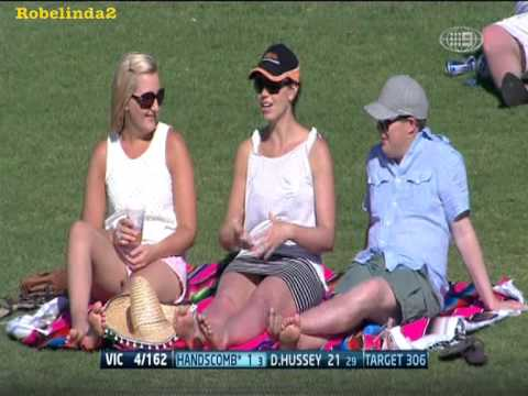 Girl imitating sex at the cricket