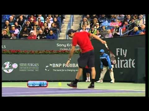 Agassi tells Federer that he is not intimidating, then Roger does this 720p