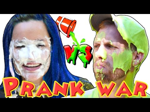 PRANK WAR Nickelodeon Green Slime Ooze - Pie Face & Blue Hair Dye! DCTC