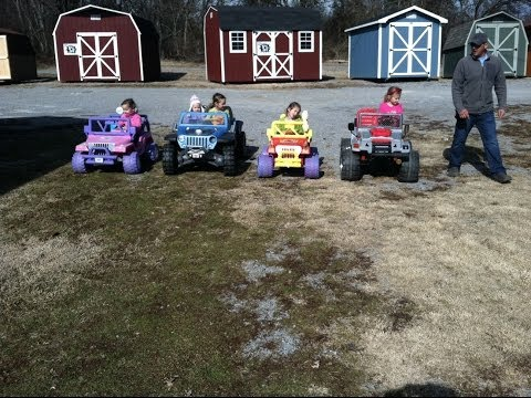 Modified Power Wheels Racing - Gaucho vs Dora Jeep vs Jeep Hurricane vs Barbie Jeep Power Wheels