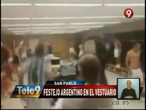 Festejo argentino en el vestuario