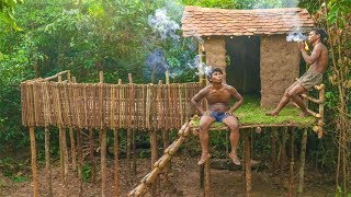Primitive Technology: Build Amazing High Villa House With Tiled Roof and Balcony