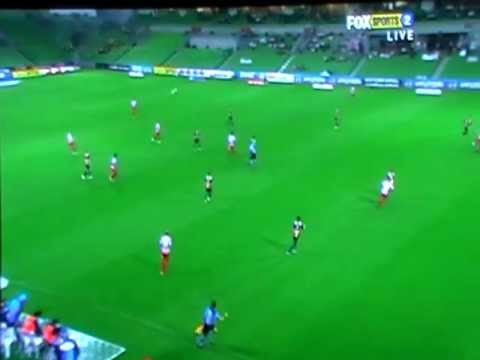 Long goal scored by Melbourne Heart defender Matt Thompson in Melbourne Heart's 1-1 soaking wet draw with the Central Coast Mariners at AAMI Park, February 5...