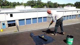 How to apply a fibered roof coating on a flat roof - Karnak  71 Fibered Asphalt Roof Coating