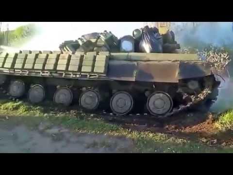 Донбасс - Танк ВСУ буксует Июнь 2015