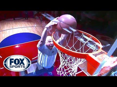 Steve Ballmer dunks ball off trampoline