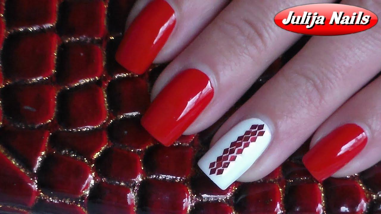Дизайн ногтей с ромбиками блестками