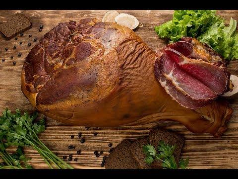 Копчение мяса свинины. Окорок копчено вареный