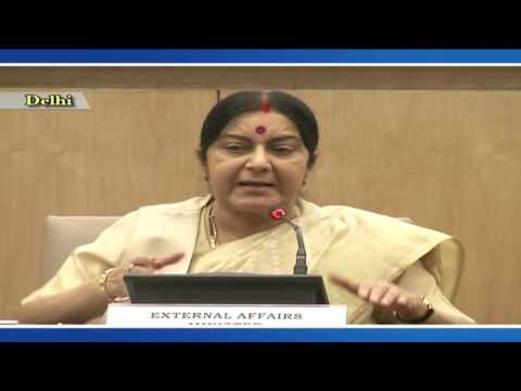 External Affair Minister Sushma Swaraj holds press conference on completion of 2 yrs of Modi govt.