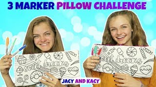 3 Marker Pillow Challenge ~ Fun DIY Pillows ~ Jacy and Kacy