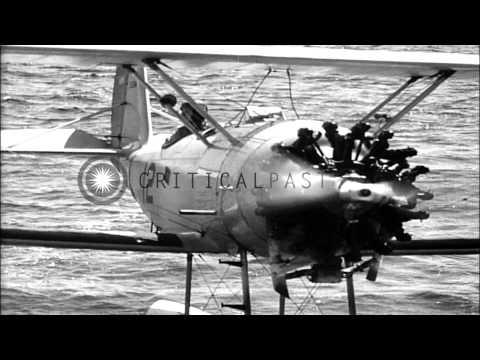 U.S.Navy student pilot makes first solo flight in N3N seaplane, at Pensacola, Flo...HD Stock Footage