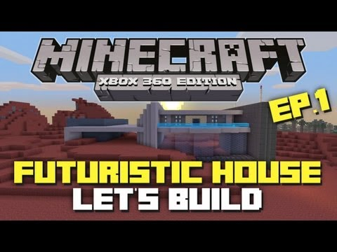 Minecraft Xbox 360: Let's Build a Futuristic Space House! Part 1 (Mass Effect Texture Pack!)