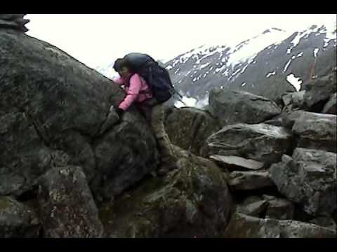 Woman Clings to Rock on Chilkoot