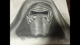 Drawing Kylo Ren from Star Wars The Force Awakens  (Pencil and Charcoal)