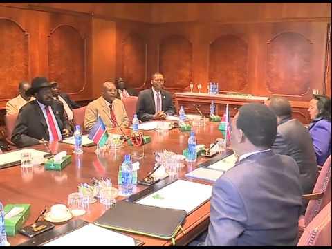 PRESIDENT SALVA KIIR MEETS PRESIDENT UHURU KENYATTA IN ADDIS ABABA, ETHIOPIA