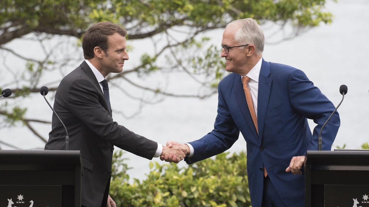 Emmanuel Macron thanks Australian PM's 'delicious wife'