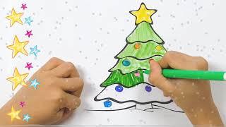 Bé tô màu | Bé Bon tô màu cây thông Noel | Đồ chơi trẻ em | Nhạc giáng sinh
