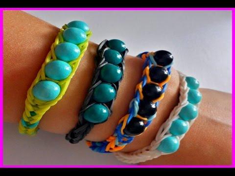 bracelet lastique shamballa rainbow loom avec des perles en fran ais youtube. Black Bedroom Furniture Sets. Home Design Ideas