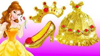 Play Doh Sparkle Belle Disney Princess Belle Sparkle Dress Shoes High Heels Gold Dress Toys For Kids