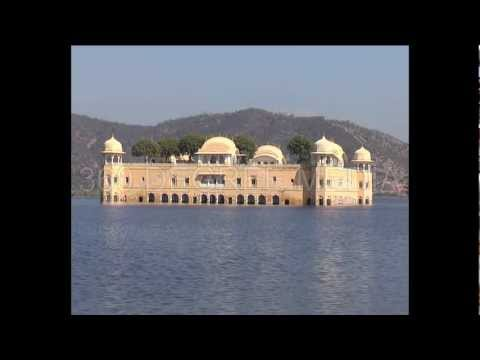 Rajasthan Jal Mahal Stock Footage - Palace in Water near Amber Fort Jaipur Rajasthan India
