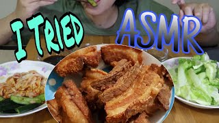 I TRIED ASMR (EATING SOUNDS)LETCHON KAWALI+KIMCHI+LETTUCE+CUCUMBER+LECHE FLAN AND COCONUT WATER