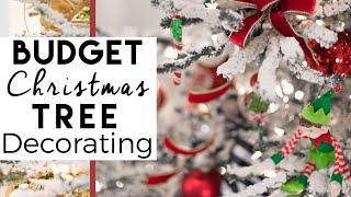 Family Friendly Christmas Tree Decorating on a Budget | Red and Green Christmas Tree | Day 3