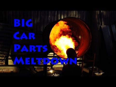 Aluminium car parts melt with oil Burner simple furnace